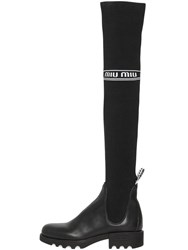 Miu Miu 40Mm Leather And Knit Over The Knee Boots Black