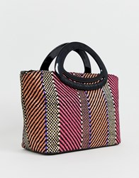 New Look Stripe Resin Handle Tote Bag In Pink Pattern