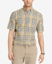 Izod Men's Plaid Short Sleeve Shirt Yellow