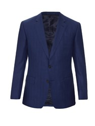 Gieves And Hawkes Notch Lapel Herringbone Jacket Blue