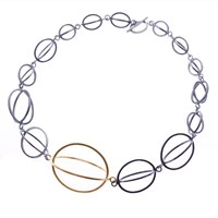 Nancy Rose Jewellery Gold And Sterling Silver Graduated Ellipse Necklace Black Gold