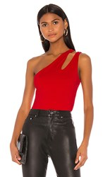 Susana Monaco One Shoulder Cut Out Tank In Red. Perfect Red