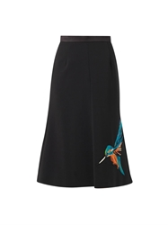 Giles Kingfisher Embroidered Wool Blend Skirt