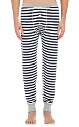 Sleepy Jones Men's Keith Striped Cotton Long Johns Navy