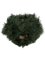 Mr And Mrs Italy Belted Fur Collar Green