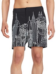 Orlebar Brown City Outline Graphic Swimsuit Black
