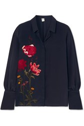 Mother Of Pearl Net Sustain And Bbc Earth Miles Faux Embellished Floral Print Organic Silk Shirt Navy