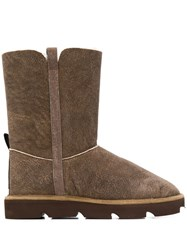Brunello Cucinelli Textured Shearling Boots Brown