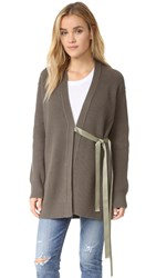 Helmut Lang Cash Wool Tie Cardigan Marsh