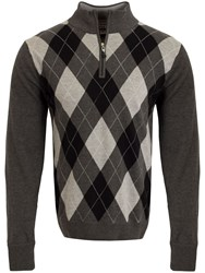 Cutter And Buck Argyle Windblock Sweater Charcoal