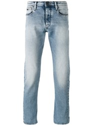 Emporio Armani Straight Leg Faded Jeans Blue