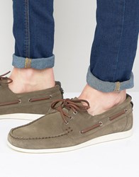 Boss Orange By Hugo Deck Suede Boat Shoes Gray