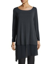 Eileen Fisher Bateau Neck Layered Tunic W Asymmetric Sheer Hem Petite Graphite