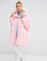 Lazy Oaf Oversized Parka Jacket With Faux Fur Hood And Waste Of Time Embroidery Pink