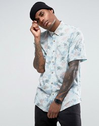 Pull And Bear Short Sleeved Floral Shirt In Light Blue Blue
