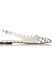 Bionda Castana Romy Checked Leather And Mesh Flats White