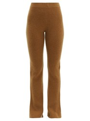 The Elder Statesman Rib Knitted Flared Cashmere Trousers Beige