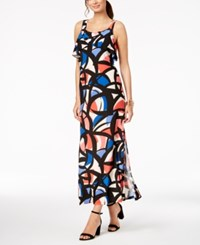 Nine West Printed Ruffle Maxi Dress Coral Cobalt Multi
