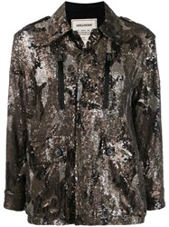Zadig And Voltaire Sequinned Camoflage Jacket Neutrals
