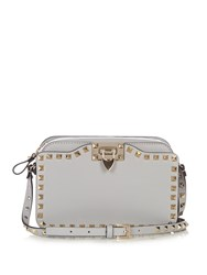 Valentino Rockstud Leather Cross Body Bag Light Grey