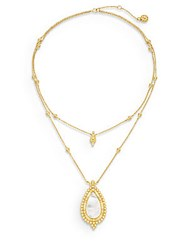 Freida Rothman Mother Of Pearl And 14K Vermeil Double Layered Framed Teardrop Necklace Gold