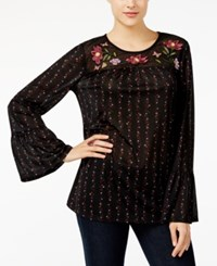 Style And Co Petite Embroidered Mesh Top Created For Macy's Garden Black