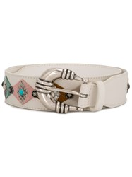 Orciani Stone Studded Belt White