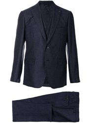 Gabriele Pasini Embroidered Three Piece Suit Polyester Viscose Wool Blue