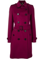 Burberry Double Breasted Coat Pink Purple