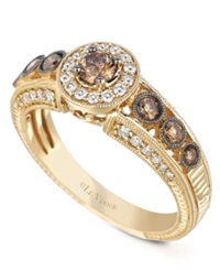 Le Vian White And Chocolate Diamond Engagement Ring 7 8 Ct. T.W. In 14K Gold