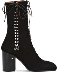 Laurence Dacade 85Mm Suzy Lace Up Suede Boots Black