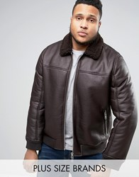 Barney's Barneys Plus Faux Leather Bomber With Borg Collar Jacket Brown