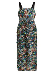 Saloni Dana Butterfly Print Ruffle Trim Dress Blue Multi