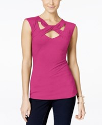 Inc International Concepts Cap Sleeve Cutout Top Only At Macy's Intense Pink