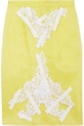 Christopher Kane Lace Appliqued Taped Silk Organza Skirt Yellow