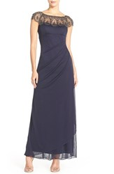 Xscape Evenings Petite Women's Xscape Embellished Illusion Ruched Jersey Gown Navy Antique