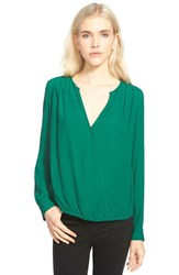 Trouve Women's Trouve Surplice Zip Cuff Blouse Green Evergreen