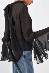 Topshop Sheer Circle Sleeve Top By Boutique Black