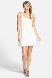 Hailey Logan Mesh Party Dress Juniors White
