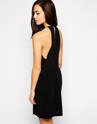 See U Soon Open Back Dress With Beaded Necklace Black