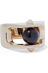 Valentino Gold Tone Stone Ring Black