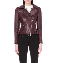 Karen Millen Leather Biker Jacket Purple
