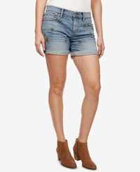 Lucky Brand Roll Up Embroidered Denim Shorts Alamitos
