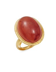 Kenneth Jay Lane Couture Carnelian Cabochon Adjustable Statement Ring Gold