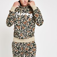 River Island Money Clothing Brown Camo Hoodie