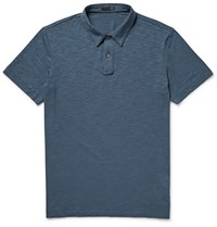 Theory Bron Slub Stretch Pima Cotton And Modal Blend Polo Shirt Blue