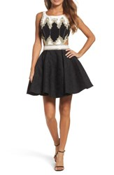 Mac Duggal Women's Embellished Cutout Back Cocktail Dress Black Ivory