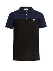 Maison Kitsune Bi Colour Cotton Pique Polo Shirt Black Multi