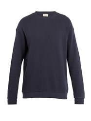 American Vintage Cotton Fleece Jersey Sweatshirt Navy