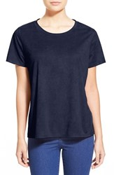 Women's Madison And Berkeley Faux Suede Tee Blue